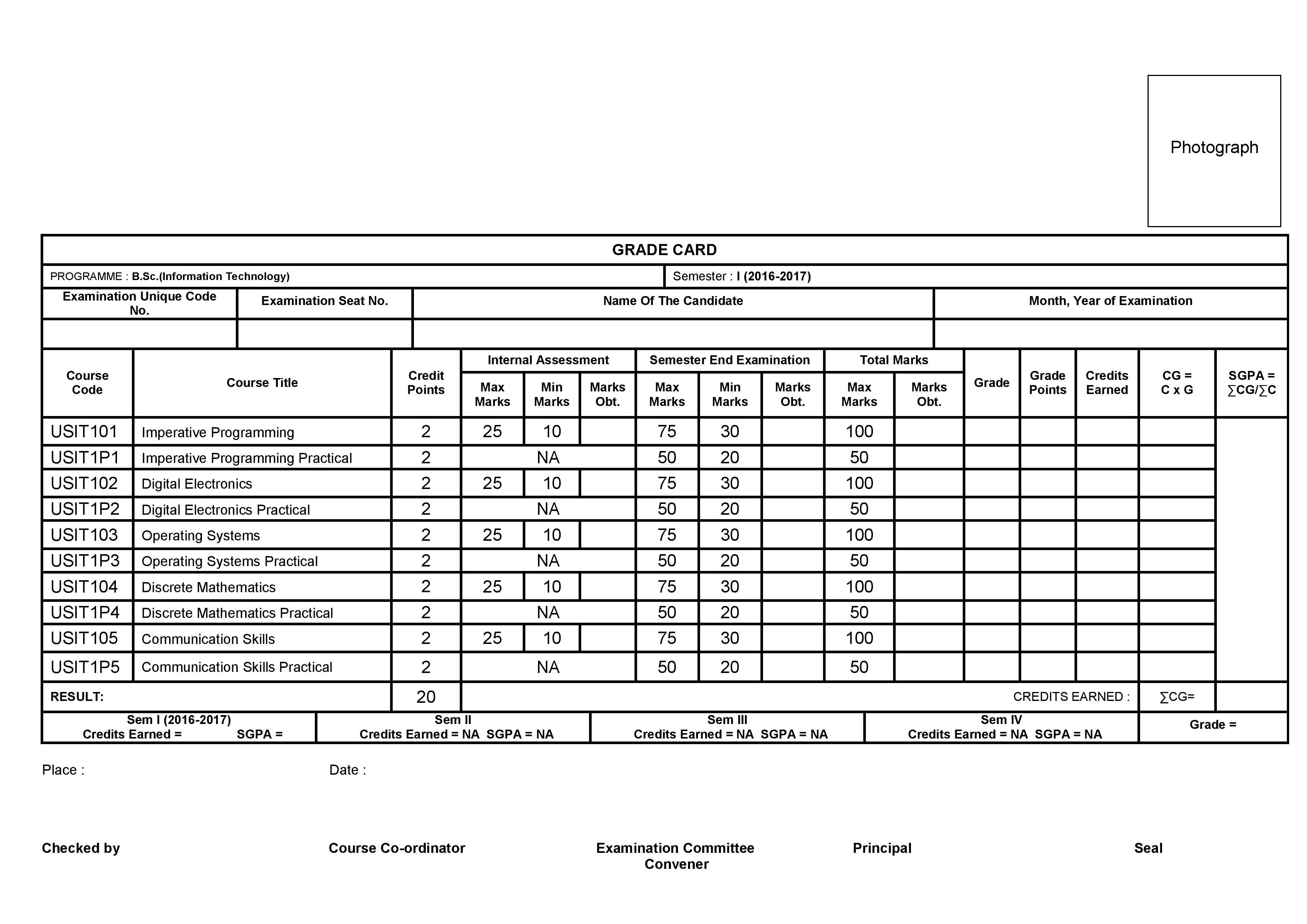 BSCIT Marksheet Format